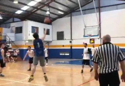 Baskerballer goes for broke with stunning long-range buzzer beater