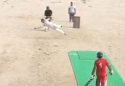 Bowler reels in a cracking diving catch