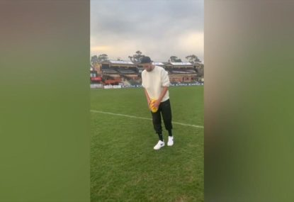 Ben Simmons boots 50 metre drop punt goal off two steps