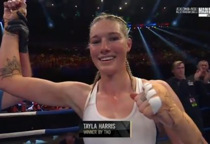 WATCH: Dual-code star Tayla Harris takes boxing win by TKO