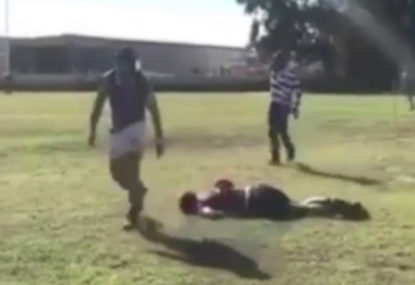 Concerning scenes as rugby player gets knocked out by innocuous tackle