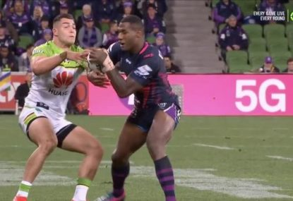 Suli Vunivalu strips Cotric to score Storm's third first-half try
