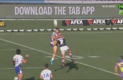 Cooper Cronk uses his head (literally) to set up Roosters try