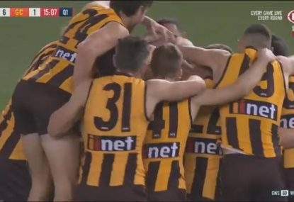 Roughie gets mobbed by teammates after kicking his first goal in farewell game