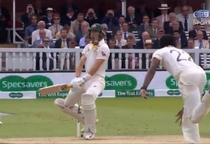 Smith's concussion sub Marnus Labuschagne cops his own frightening Archer blow