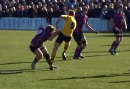 Hooker shows scrum-half who's boss with SAVAGE fend