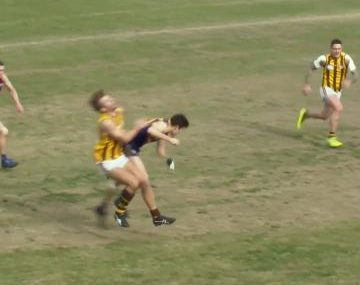 Massive bump absolutely FLATTENS hapless footy player