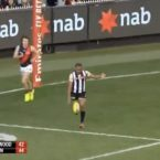 Travis Varcoe inexplicably kicks backwards despite being just metres out from goal