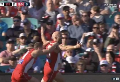 Jarrad McVeigh salutes with a goal in farewell game