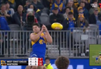 Eagles defender's shocking dropped sitter gifts the Hawks a goal