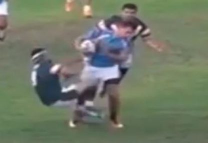 Big bump-off and swinging tackle leads to scuffle