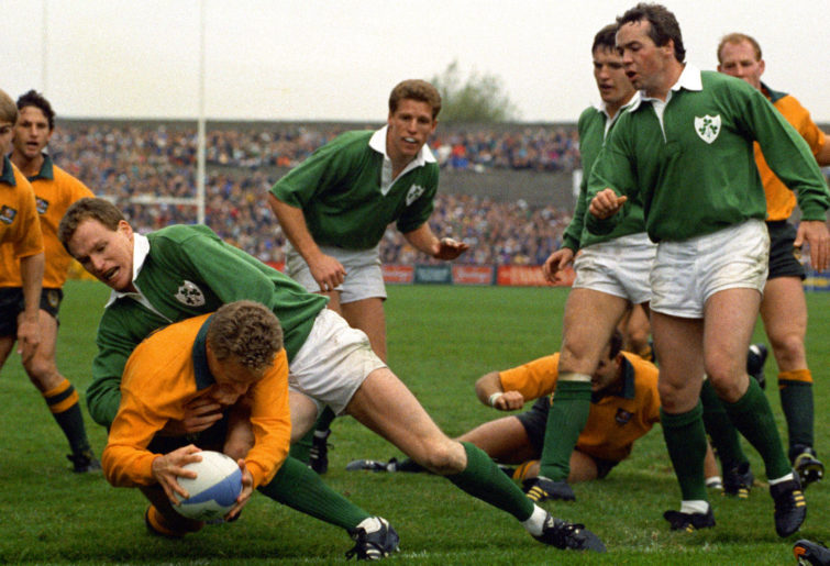 Australia's Michael Lynagh scores the winning try