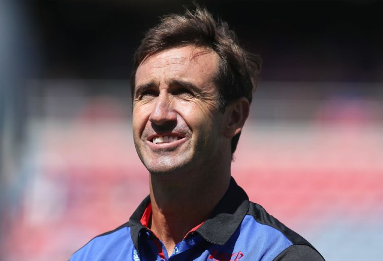 Andrew Johns smiles as he's presented to Newcastle fans in 2017