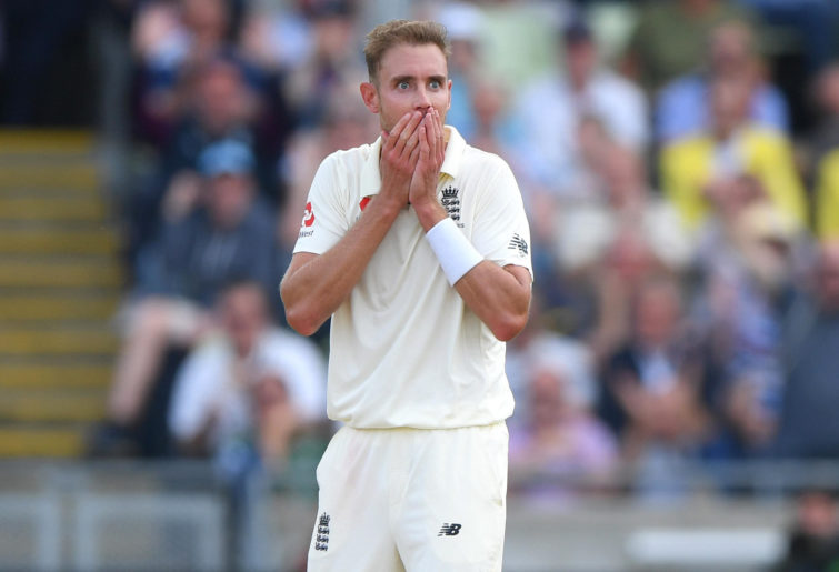 Stuart Broad celebrates taking a wicket