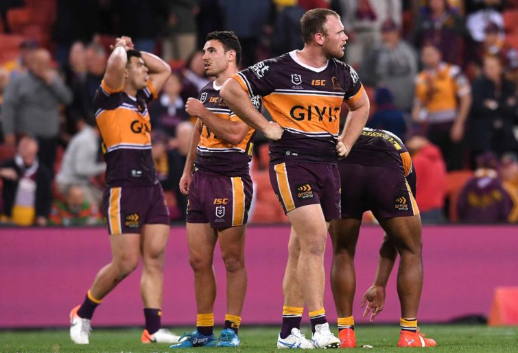 The disappointed Brisbane Broncos