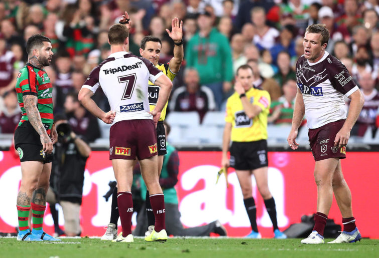 Jake Trbojevic of the Sea Eagles reacts to being sin binned