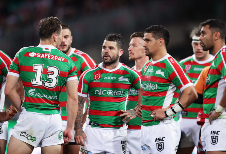 Adam Reynolds and the Rabbitohs look on.