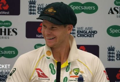 Steve Smith's priceless reaction to England's leg slip plan finally working