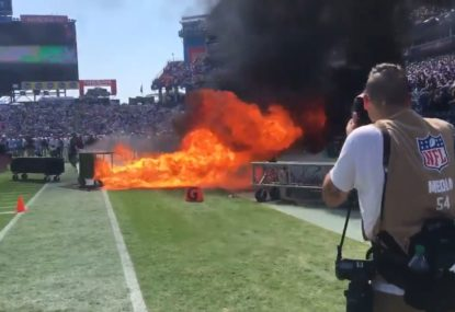 NFL team's pre-game show goes up in flames