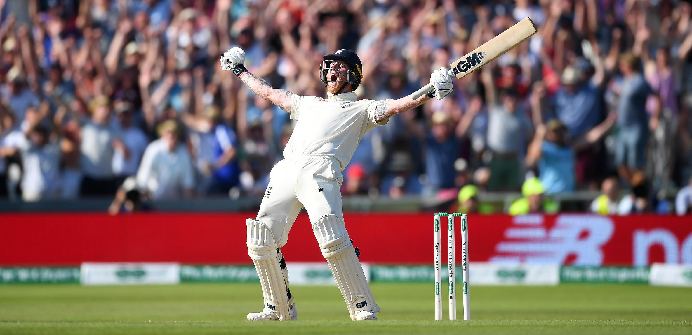 Ben Stokes celebrates winning the third Ashes Test