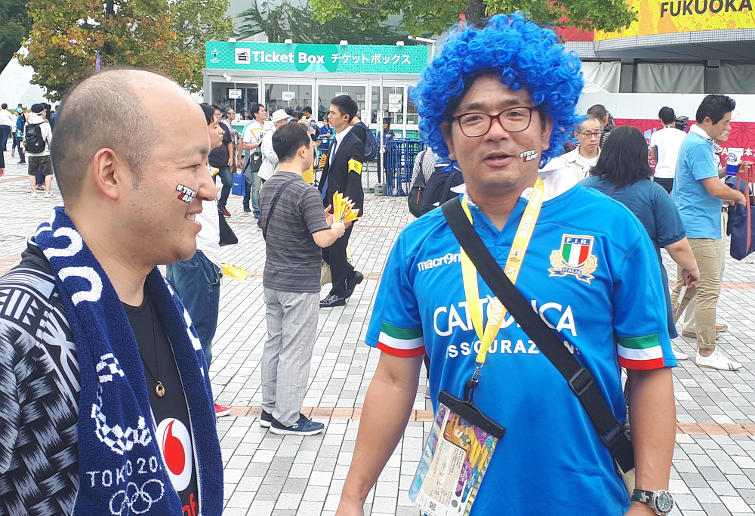 Fans before the Rugby World Cup match between Italy and Canada
