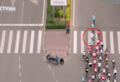 Pedestrian causes havoc at the end of cycling race