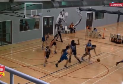 Rejection and slick skills results in a full court team bucket