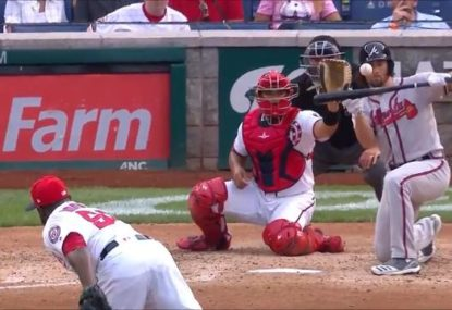 Nasty moment as MLB batter cops 140km/h pitch to the face