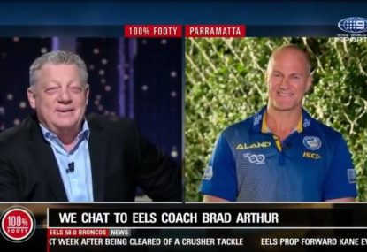Everyone loses it after Fatty's hilarious Kane Evans question to Brad Arthur