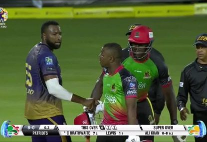 CPL batsman blows up deluxe at bowler in heated Super Over