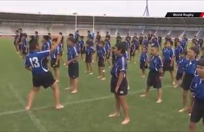 Japanese schoolchildren welcome All Blacks with a genuinely outstanding haka