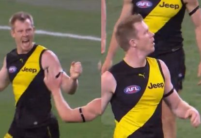 Jack Riewoldt learns the hard way why you should never celebrate too soon