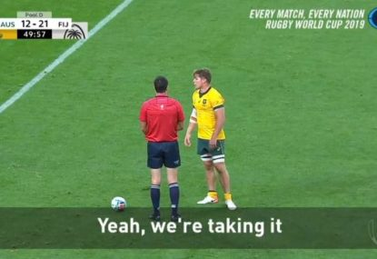 This was a peak alpha move by Michael Hooper towards Fiji