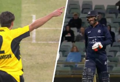 Glenn Maxwell and Jhye Richardson go head-to-head in fiery battle