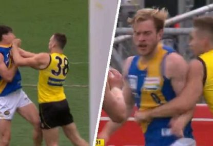 Premiership Tiger reported for striking in fiery VFL Grand Final first half