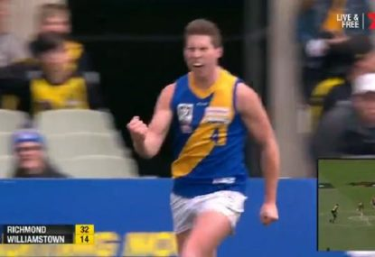 Williamstown player kicks ripper goal, gives Richmond crowd the bird
