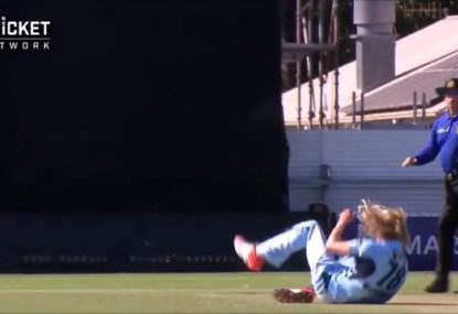 NSW bowler somehow avoids serious injury in scary incident