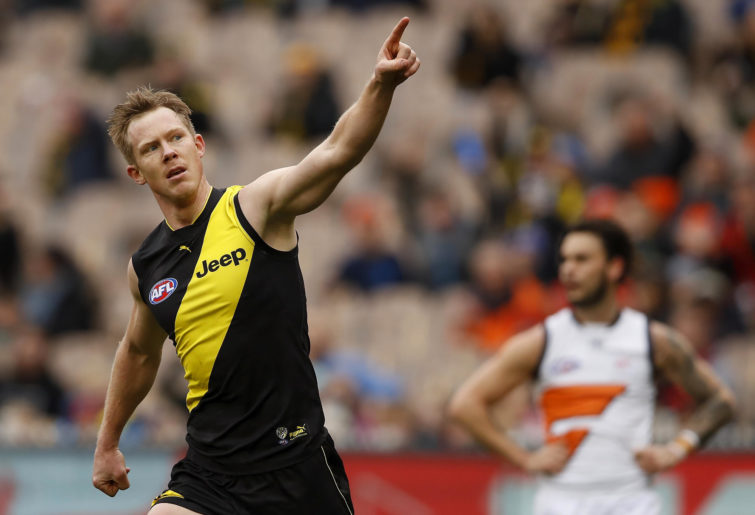 Richmond Tigers' Jack Riewoldt celebrates a goal Reiq