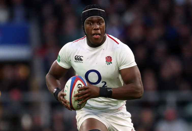 Maro Itoje runs the ball for England