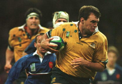 Owen Finegan scores a try during the 1999 World Cup final