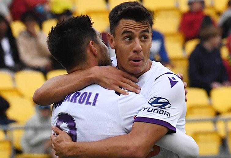 Christopher Ikonomidis, right, celebrates with Bruno Fornaroli