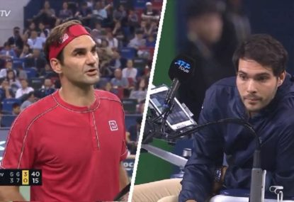 Roger Federer's tense exchange with umpire after copping point penalty