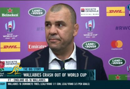 Michael Cheika's emotional reaction as the Wallabies bow out of the World Cup