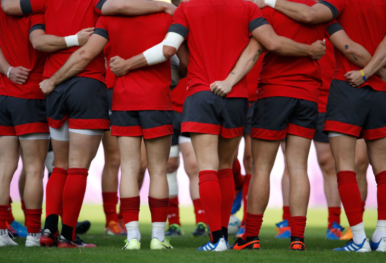 Wales players in a huddle