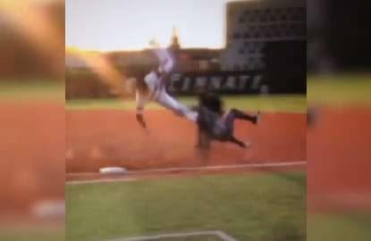 Massive baseball collision