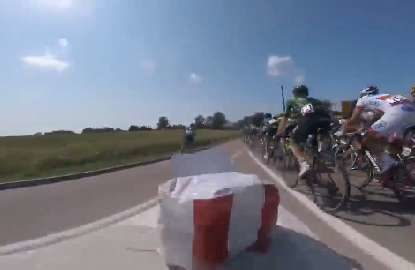 GoPro captures cyclist crashing into a road sign