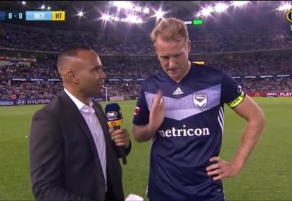 Ola Toivonen's hilariously blunt reaction to the Melbourne Derby's first half snooze fest