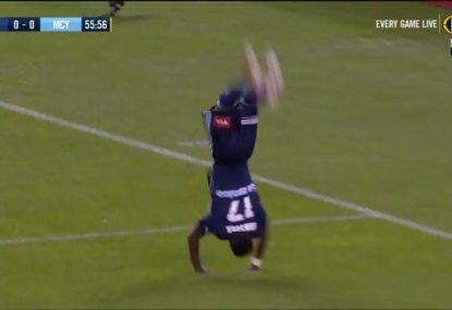 Victory winger spectacularly celebrates first A-League goal... before the VAR takes it away
