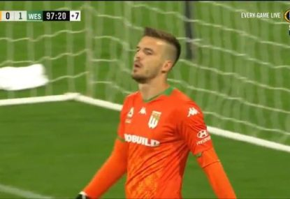 Western United goalkeeper goes ballistic at own team for no discernible reason