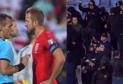 Disgusting scenes as England's Euro qualifier halted twice due to racist abuse